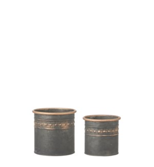 "Pot round black copper set of 2 - 5x4.75"""