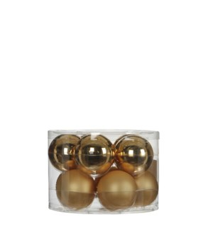 """Bauble glass gold 10 pieces - 2.25"""""""