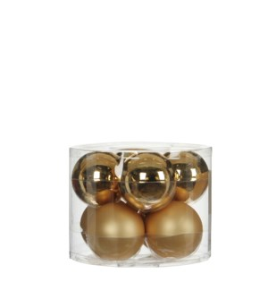"""Bauble glass gold 8 pieces - 2.75"""""""
