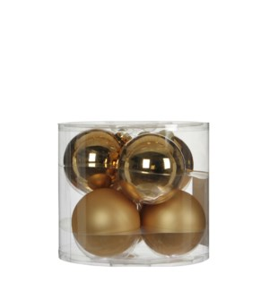 """Bauble glass gold 6 pieces - 3.25"""""""