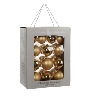"""Bauble glass gold 26 pieces - 2.75"""""""