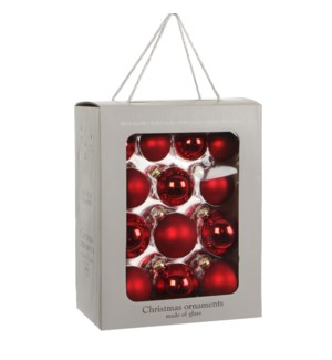 """Bauble glass red 26 pieces - 2.75"""""""