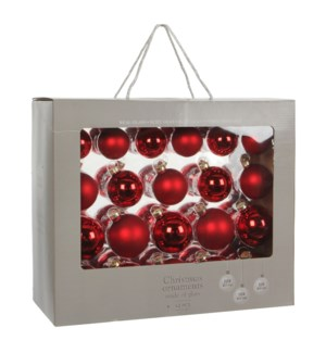 """Bauble glass red 42 pieces - 2.75"""""""