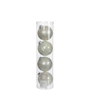 """Bauble glass white 4 pieces - 4"""""""