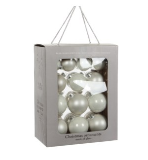 """Bauble glass white 26 pieces - 2.75"""""""