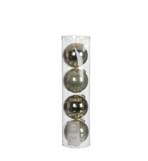"""Bauble glass l. green 4 pieces - 4"""""""
