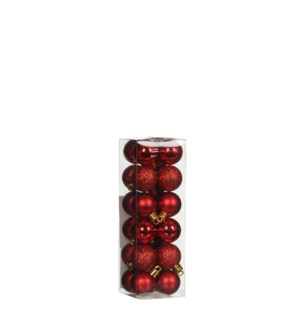 """Bauble unbreakable red 24 pieces - 1.25"""""""