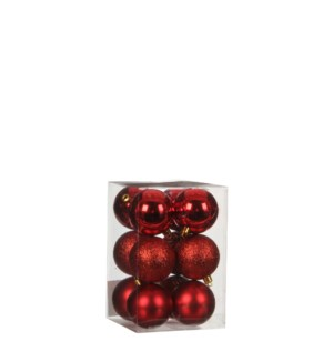 """Bauble unbreakable red 12 pieces - 2.25"""""""