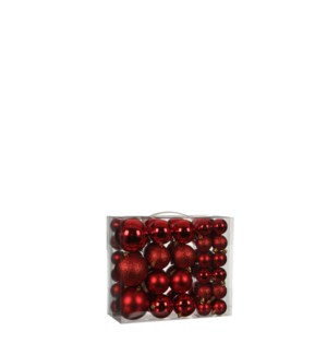 Bauble unbreakable red 46 pieces - 3.25""