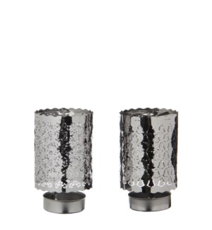 Tealight holder snowflake tree silver 2 assorted - 2.75x4.25