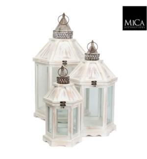 """Camondo lantern white set of 3 - 15x13.5x27.5"""""""