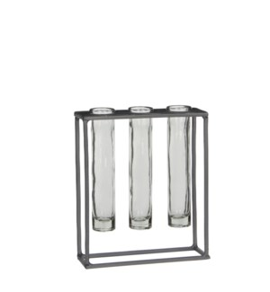 Matte test-tube holder grey - 6.75x2.25x8""