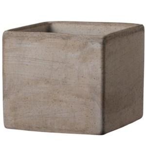 "Cube Box 7x6""H Tuscan Clay Grey"