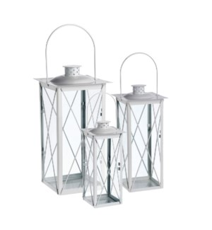 Vienna lantern white set of 3  - 6.75x6.75x15.75""
