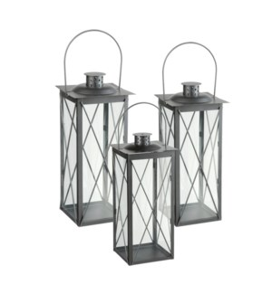 Vienna lantern grey set of 3  - 6.75x6.75x15.75""