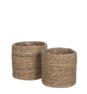 """Atlantic basket l. brown set of 2  - 8x8"""""""
