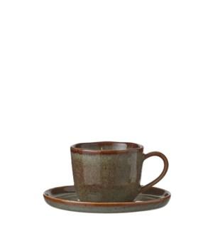 """Noah cup and saucer brown  - 3.25x2.25x2.5"""""""