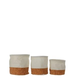 "Darcia pot round off white set of 3  - 6.75x7"""