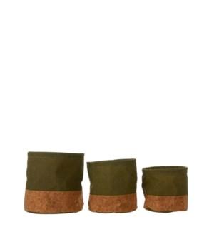 "Darcia pot round green set of 3  - 6.75x7"""