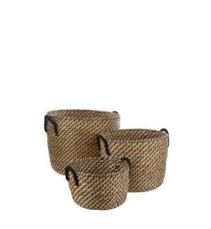 "Basket l. brown set of 3 - 19x15"""