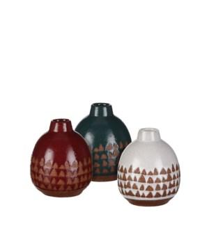 "Jungle single flower vase 3 assorted - 3.25x4"""