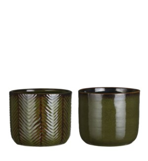 Davy pot round d. green 2 assorted - 4.75x5.5""
