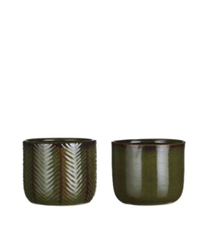 Davy pot round d. green 2 assorted - 4.75x4""
