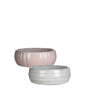 Benny bowl round white l. pink 2 assorted - 5.5x2""