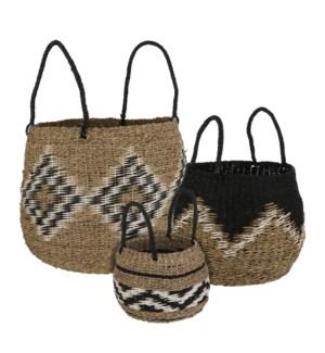 "Marbella basket l. brown set of 3 - 15x15"""