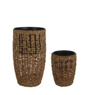 Zack vase round brown set of 2 - 17.25x29.25""