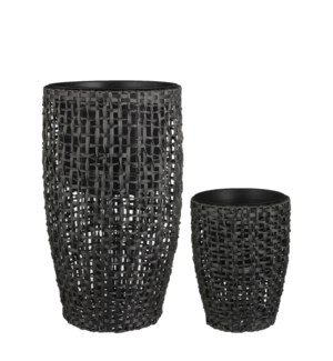 Zack vase round black set of 2 - 17x29.5""