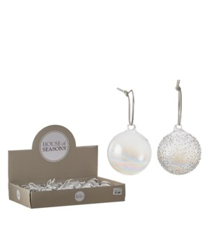 """Ornament ball white 2 assorted display - 2.75x3.25"""""""