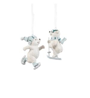 "Ornament bear blue 2 assorted - 2.5x1.75x3.25"""