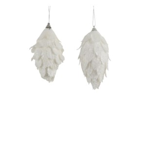 """Ornament feather white 2 assorted - 2.25x4.75x2"""""""