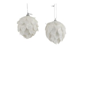 """Ornament feather white 2 assorted - 3.25"""""""