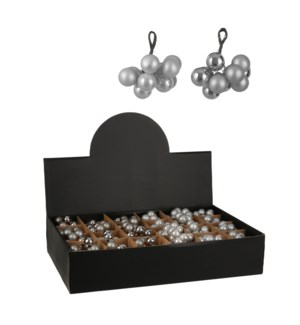 """Bauble glass white 2 assorted display - 0.75"""""""