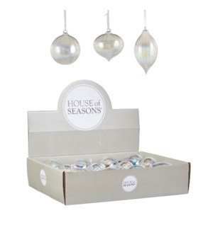 """Bauble glass clear 3 assorted display - 3.25x3.5"""""""