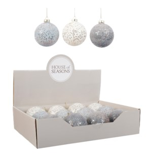"""Bauble glass white l. blue d. blue 3 assorted display - 3.25"""""""