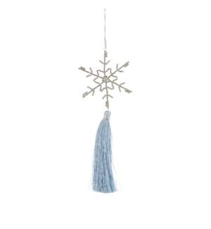 """Tassel snowflake l. blue - 8.25x3.25x0.5"""""""