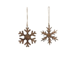 """Ornament snowflake brown 2 assorted - 3.25"""""""