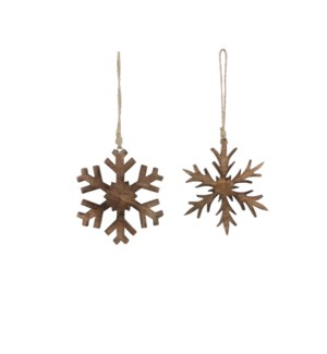 Ornament snowflake brown 2 assorted - 6.25""