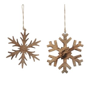 Ornament snowflake brown 2 assorted - 8.25""