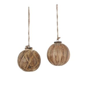 Bauble mango wood brown 2 assorted - 4""