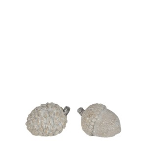 Pine cone acorn white 2 assorted - 3.5x2.25x2.25""