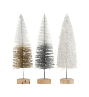 Tree white silver champagne 3 assorted - 2.25x15.75""