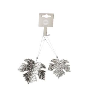 "Ornament leaf silver 2 pieces - 2.75x2.25"""