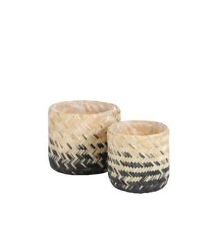 "Liana pot round black set of 2 - 9.5x9"""