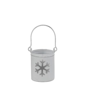 Tealight holder snowflake white - 3x6.5""