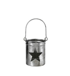 Tealight holder star d. silver - 3x6.5""
