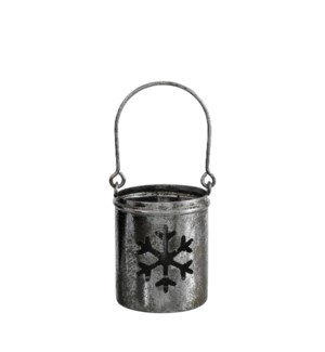Tealight holder snowflake d. silver - 3x6.5""
